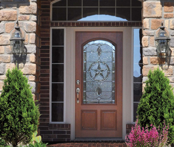 solid wood doors & Bell Stained Glass Fiberglass and Wood Doors sheer elegance!